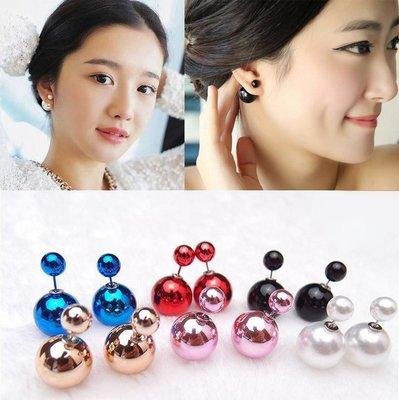 ╭✿蕾兒0509✿╮GB018-韓國耳釘高檔雙面大小珍珠誇張大力丸氣泡耳釘耳飾品耳環