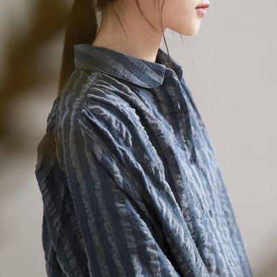 ||一品著衣|| 愜意氣質豎條紋白襯衫秋復古肌理感純棉上衣