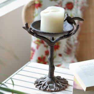 美式鄉村鑄鐵工藝品/胡爾森小鳥樹枝仿舊鐵藝燭台蠟燭台蠟台豎款