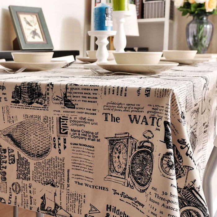 奇奇店-英倫復古風格桌布布藝報紙加厚桌墊臺布餐桌布藝茶幾長方形蓋巾(尺寸、是否含芯價格不同)