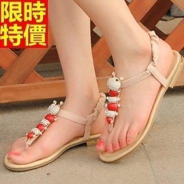 平底涼鞋 夾腳拖鞋-超閃水鑽可愛設計女休閒鞋子2色67d11[獨家進口][米蘭精品]