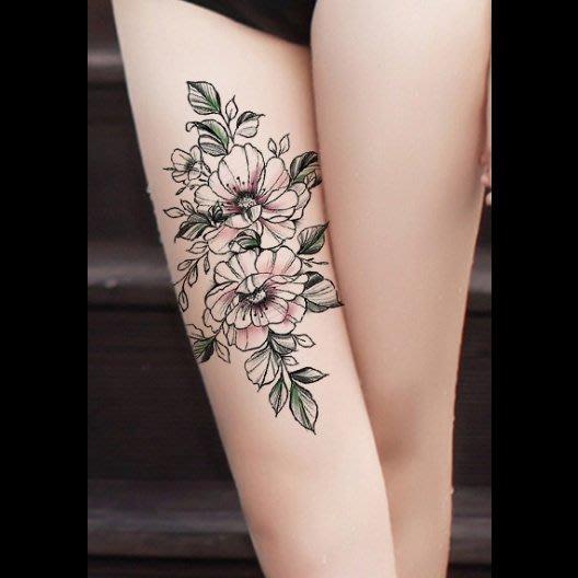 【萌古屋】線條花朵手臂大圖 - 防水紋身貼紙刺青貼紙HB-352X