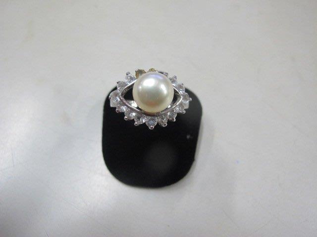 二手舖 NO.3982 天然珍珠 鑲鑽造型戒指 首飾飾品 全新