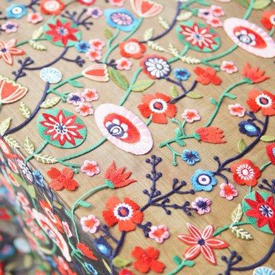 橙子的店 W228奇異世界彩色繡花色織刺繡黑底軟網紗蕾絲布料服裝手工DIY面