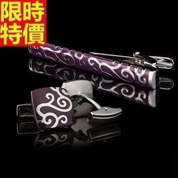 領帶夾組合含領帶夾+袖扣-父親節禮物精美圖案創意時尚男士配件飾品組4款66af7[獨家進口][巴黎精品]