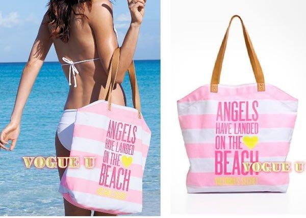 ☆VOGUE U☆美國Victoria's Secret~維多利亞的秘密VS天使條紋帆布沙灘包 肩背包(特價) 【O0247V】