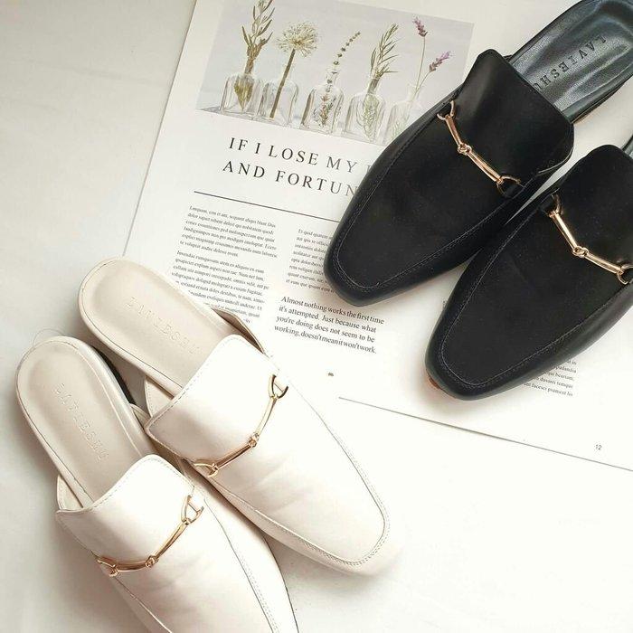【Alice秘密衣櫥】🇰🇷韓國連線🇰🇷 現貨 馬蹄扣 懶人鞋 穆勒鞋 平底 黑色 尺寸24.5