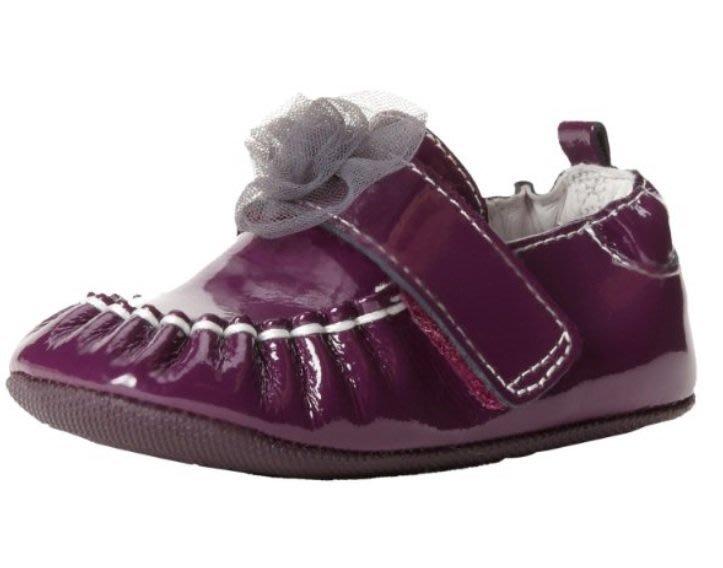 醫生推薦Robeez 紫色立體小花真皮膠底學步鞋(6-9m)
