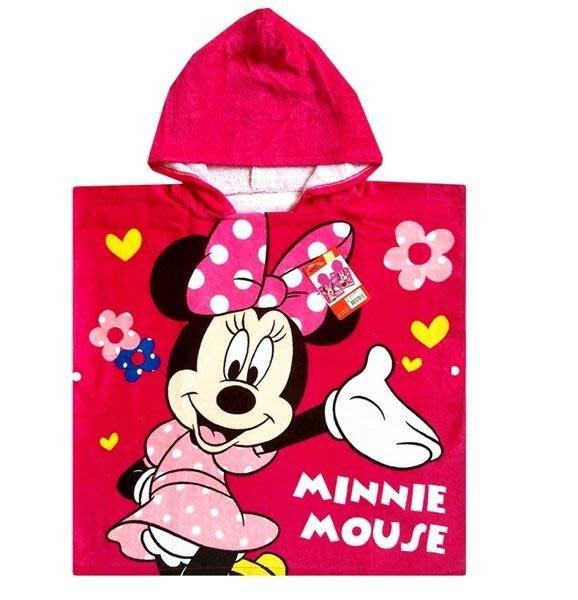 迪士尼正版授權~米妮連帽浴巾~100%純棉~透氣速乾吸濕佳~◎童心玩具1館◎