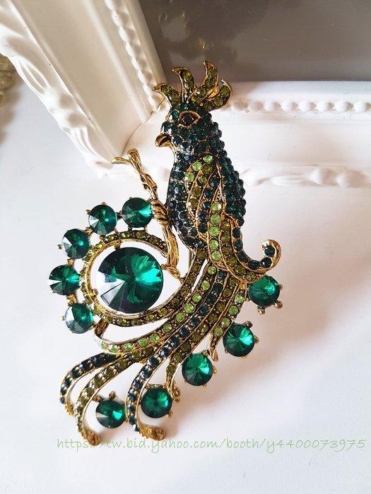 黑爾典藏西洋古董 ~祖母綠 孔雀 珠寶 動物 胸針 ~Vintage 復古 密鑲SWAROVSKI