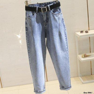 One fifth◊ .. [S-5XL]新品牛仔褲女BF大碼寬鬆舒適學生直筒九分闊腿老爹蘿卜褲QC230