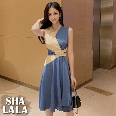 SHA LA LA 莎菈菈 韓版時尚V領拼接收腰繫帶無袖連衣裙洋裝2色(S~XL)2019050502預購款