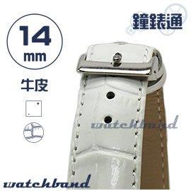 【鐘錶通】C1.20I《亮彩系列》鱷魚格紋-14mm 簡約白┝手錶錶帶/皮帶/牛皮錶帶┥