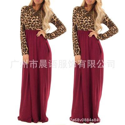 【嚴選】連身裙拼接新款跨境亞馬遜長袖年春歐美洋裝豹紋洋裝OL通勤