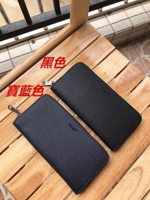 美國正品 COACH 58107 新款素色全皮長夾 拉鏈款皮夾 耐磨防刮顆粒紋真皮錢包 12卡位