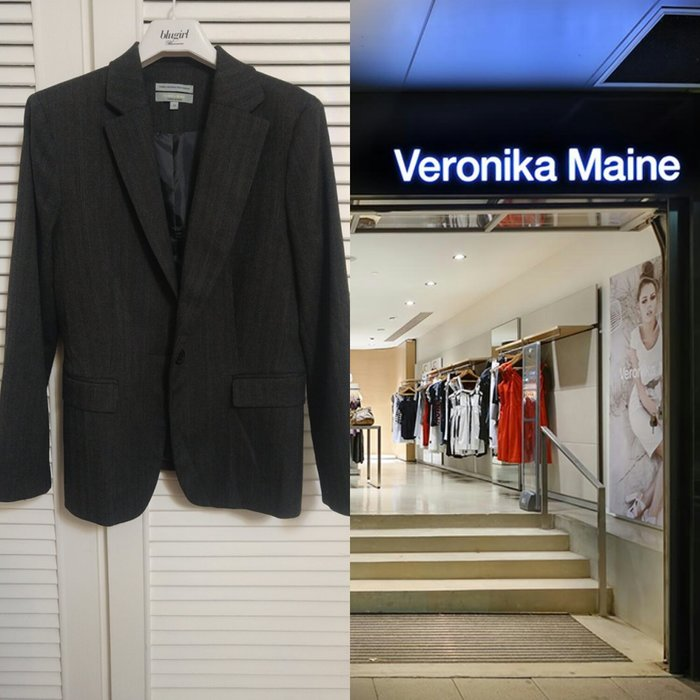 澳洲低調優雅品牌 veronika maine 鐵灰藍棕細條紋單排釦西裝上衣