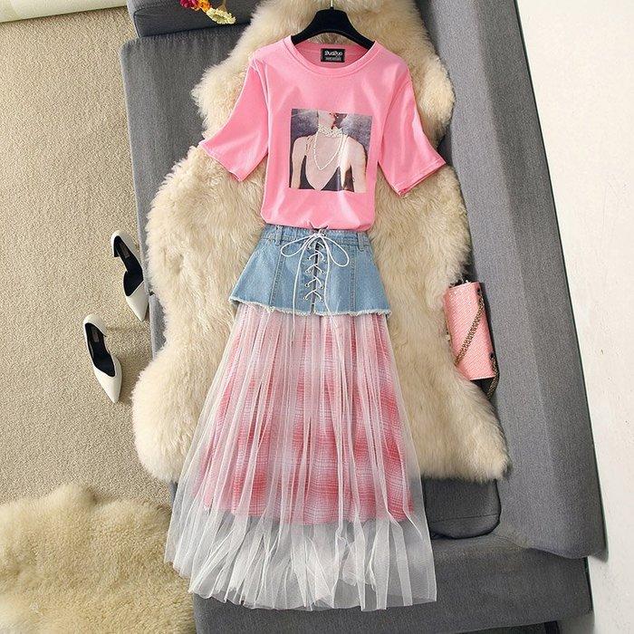 牛仔洋裝 半身裙 A字裙 時尚套裝連衣裙19訂珠女孩T恤大擺紗裙牛仔半身裙三件套