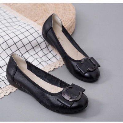 JC Shop【35-42#】女鞋 軟牛皮 真皮女鞋 豆豆鞋女 大尺碼平底鞋 超柔軟透氣平底女休閒鞋 大尺碼工作鞋