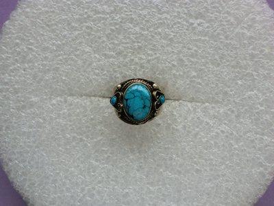西藏老戒:鑲藍色綠松石3
