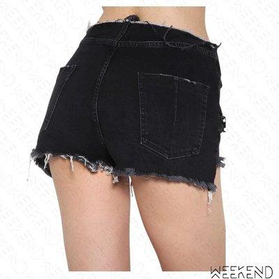 【WEEKEND】 UNRAVEL 抽鬚 不修邊 穿孔 綁帶 牛仔 短褲 熱褲 黑色 折扣
