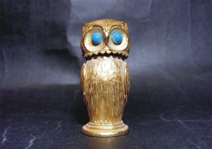 ONE*$1~美國FLORENZA OWL-1950鍍金《貓頭鷹*煤油打火機》默爾金金屬*綠松石的眼睛