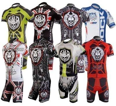 【購物百分百】骷髏Rock Racing cycling jersey短袖騎行服 男款單車自行車服 短套裝車衣車褲