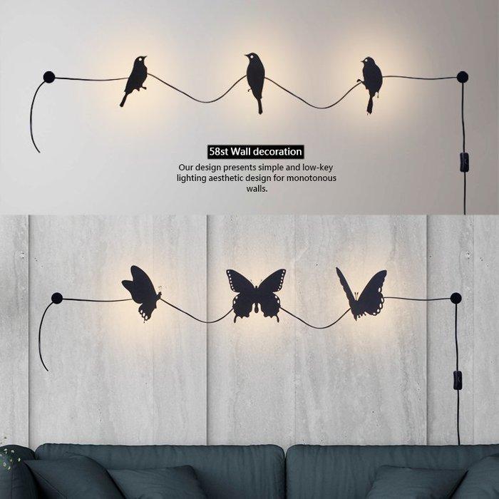 【58街】「小鳥蝴蝶LED裝飾壁燈 」極致典雅品味/燈具/美術燈。複刻版。GK-418