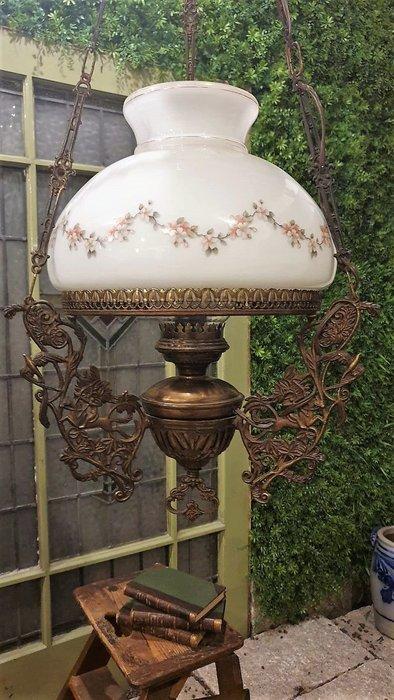 【卡卡頌  歐洲古董】🌾法國老件 小花  質感俊馬 花鳥  銅雕刻  油燈造型  古典 鄉村  吊燈   l0358
