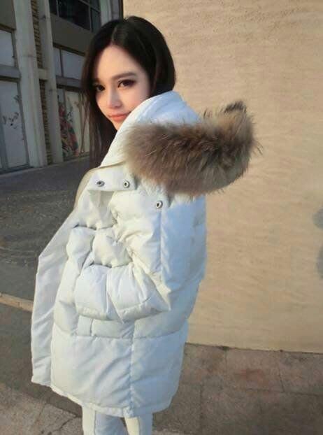 📣【超大毛領在這啦】韓 爆炸貉子毛領 毛圈 連帽🔥保暖🔥長版羽絨外套【黑、白火熱現貨】