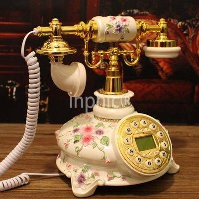 INPHIC-蒂娜 家用座機 時尚辦公歐式電話機 復古電話機做復古古董