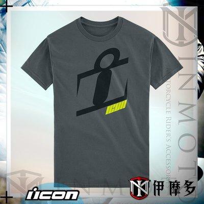 伊摩多※美國 ICON 美式 舒適 休閒 LOGO T-shirt NEO SLANT 。灰色