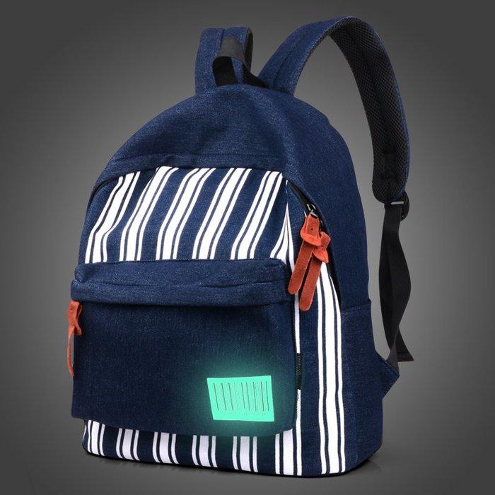 SX千貨鋪-新款潮流牛仔布雙肩包書包男雙肩包韓版時尚旅游休閑牛仔運動背包#男士背包#書包#單肩包#書包