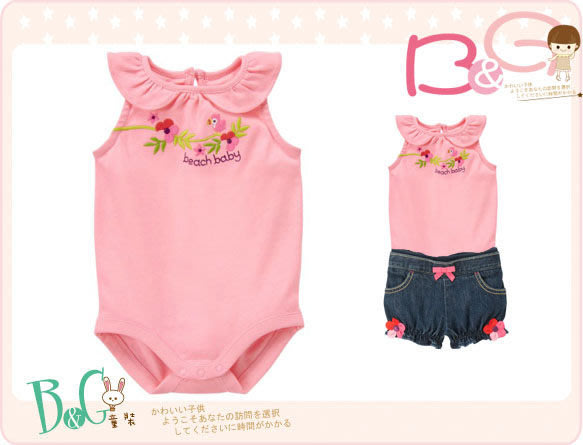 【B& G童裝】正品美國進口GYMBOREE櫻鵡花朵圖樣短袖連身衣6-12mos
