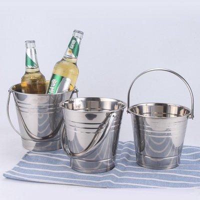 【賣女孩的小火柴】A 加厚不銹鋼冰粒桶ktv酒吧冰桶單層5L啤酒桶帶提手金屬無磁香檳桶
