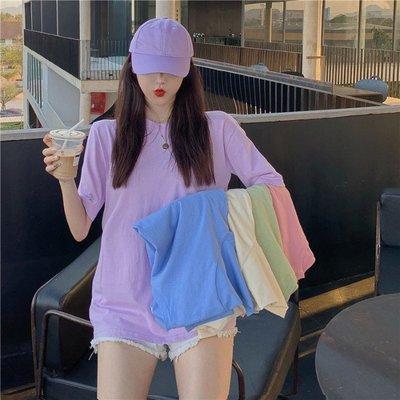 小香風 短袖T恤 時尚穿搭 潮T恤上衣港風復古女 韓版 圓領寬松 顯瘦 純色基礎短袖