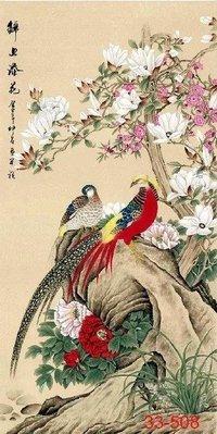 【花鳥畫】國畫花鳥豎式錦上添花字畫玄關客廳辦公室中式裝飾畫(絹本畫芯可以貼墻上)