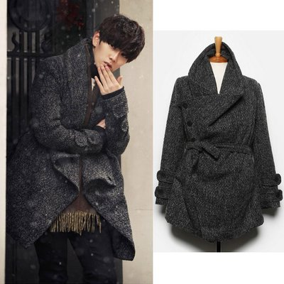 『潮范』 WS08 日系復古個性設計毛呢料大衣 氣質情侶長大衣 麻點呢風衣外套NRB2122