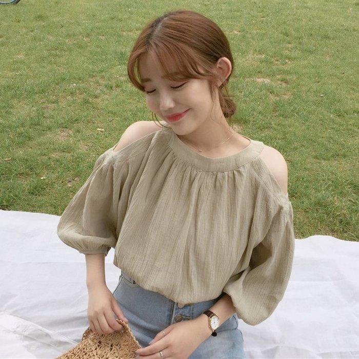 韓版 平口T恤 一字肩 女裝純色寬松露肩燈籠袖襯衫休閑短袖雪紡衫襯衣上衣