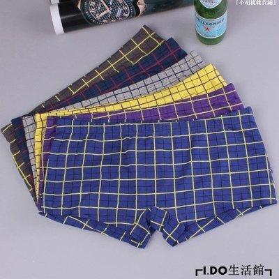 「小胡桃雜貨鋪」 中性內褲帥方格純棉平角大碼G9P57