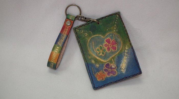 皮革雕花 心花朵朵開 票卡夾 悠遊卡套 限量好康的店