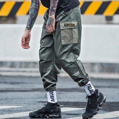 【silence】免運歐美街頭潮流嘻哈寬松學生小腳男 軍綠色工裝束腳褲
