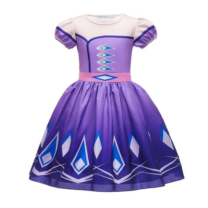 •*~ 辣媽咪衣飾小舖 ~*•❤童裝系列❤K860353韓版兒童夏款冰雪奇緣艾莎公主洋氣短袖禮服洋裝