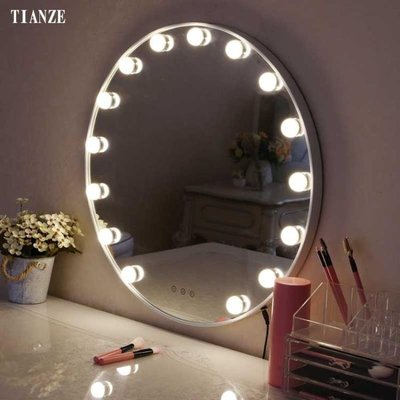化妝鏡LED圓形化妝鏡帶燈泡壁掛式梳妝鏡歐式高清浴室燈鏡墻面補妝鏡   全館免運