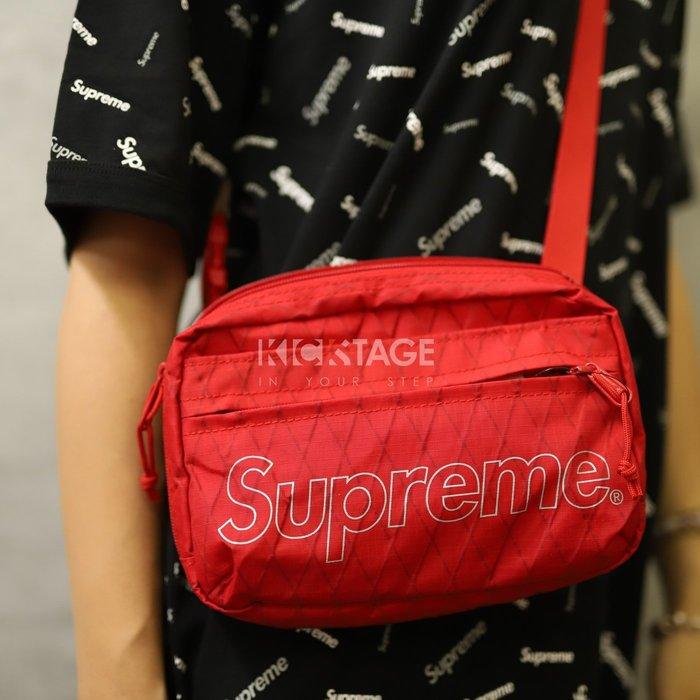 KS▸Supreme 18FW Shoulder Bag 45th 紅色 菱格 側背包 隨身 小包【SUP435】