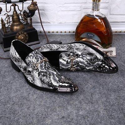 個性時裝男皮鞋 時尚潮流高跟尖頭鐵頭男鞋真皮個性T臺走秀鞋英倫風發型師皮鞋子