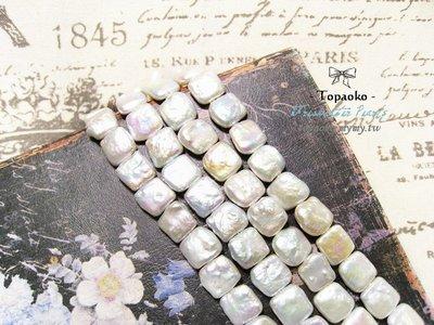 天然石.DIY材料 天然白色巴洛克方形淡水珍珠隨機1入【F9526】約13mm手工飾品《晶格格的多寶格》