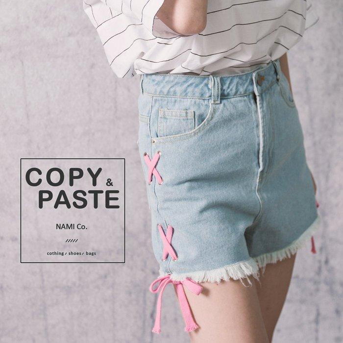 Copy&Paste【PA34】韓國訂單.甜美可愛粉色繫帶交叉XX綁帶設計顯瘦修飾丹寧牛仔短褲 S/M/L (現貨)
