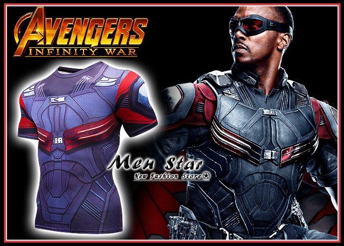 【Men Star】免運費 復仇者聯盟 3 獵鷹 彈力運動衣 marvel 短袖T桖 瑜珈舞蹈服 X戰警 緊身 角色服飾