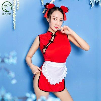 辣款春莉春cosplay麗紅旗袍全套紅含頭飾全套組《A2764》魔法戀人