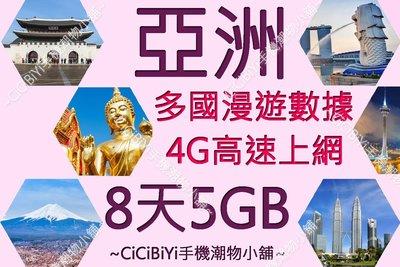 [CiCiBiYi 全球網卡小舖]  亞洲數據卡  8天 5GB 高速4G/3G